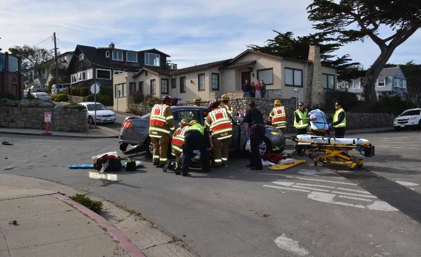 A witness said three cars were involved in a crash near Ocean View Boulevard and Crest Avenue in Pacific Grove on Wednesday.