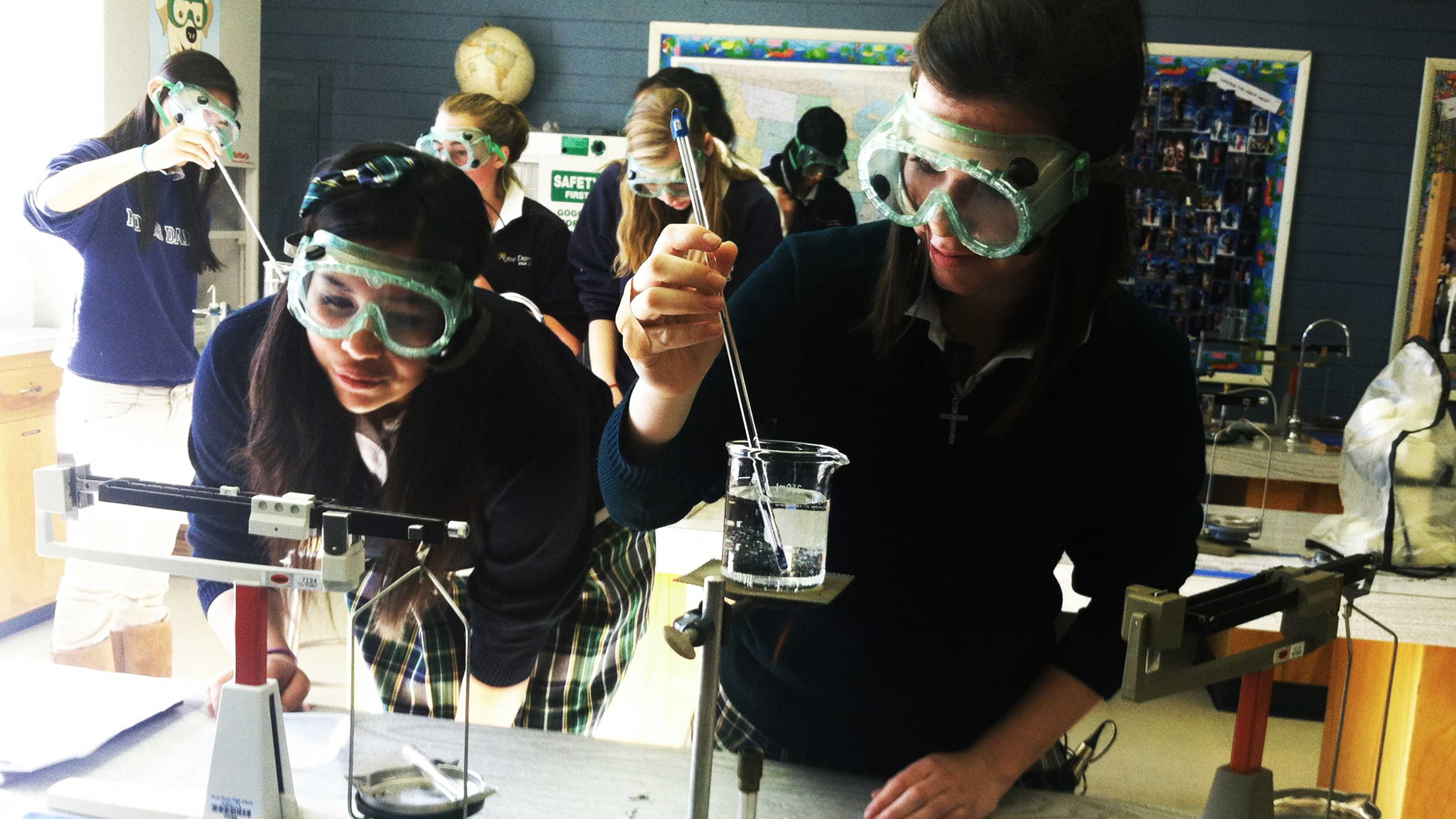 Notre Dame High School students Mariah O'Grady and Johanna Nicole Rivas work on a lab project in their chemistry class.