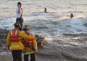 A Mountain View man died Friday after becoming trapped in rough waters near the Santa Cruz Lighthouse.