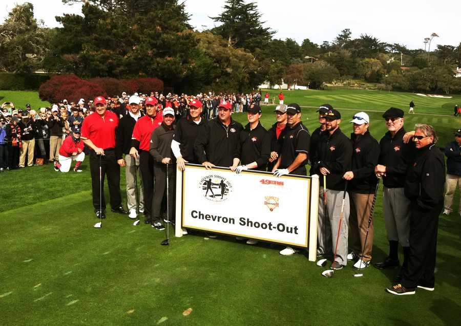 The San Francisco Giants and San Francisco 49ers battled it out for charity money and bragging rights in the Tuesday Chevron Shoot-Out. (Feb. 4, 2014)
