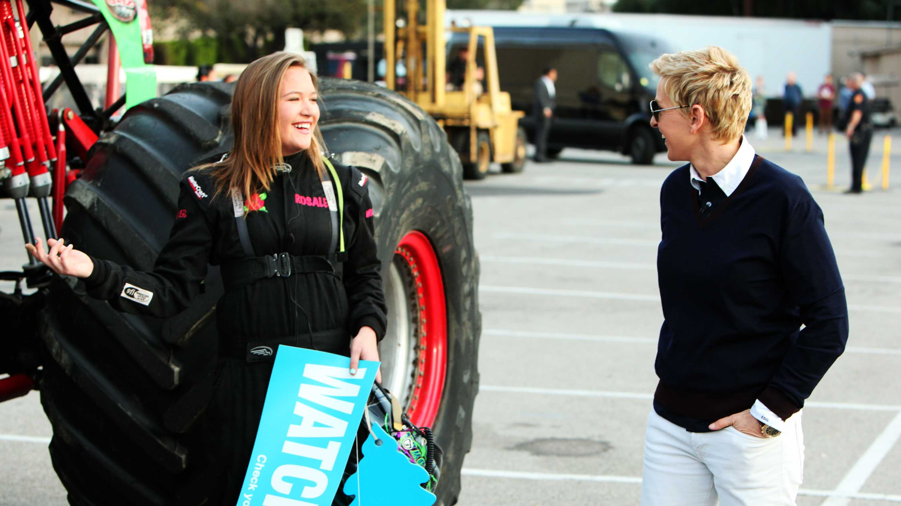 Rosalee Ramer shows Ellen DeGeneres her Monster Truck.