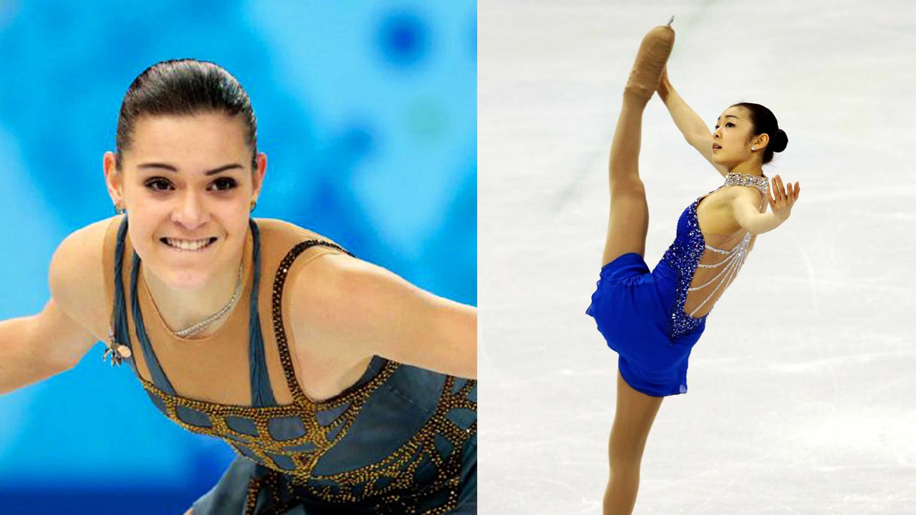 Russian Adelina Sotnikova, left, and South Korean Yuna Kim