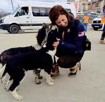 Brita Sigourney made some puppy friends in Sochi, Russia, while competing at the Olympics.