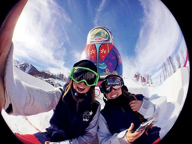 Brita Sigourney and Maddie Bowman on a training day at the Olympics in Sochi.