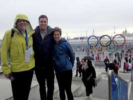 Thad, Bryce and Julie Sigourney at the entrance to the Olympic Park in Sochi, Russia.