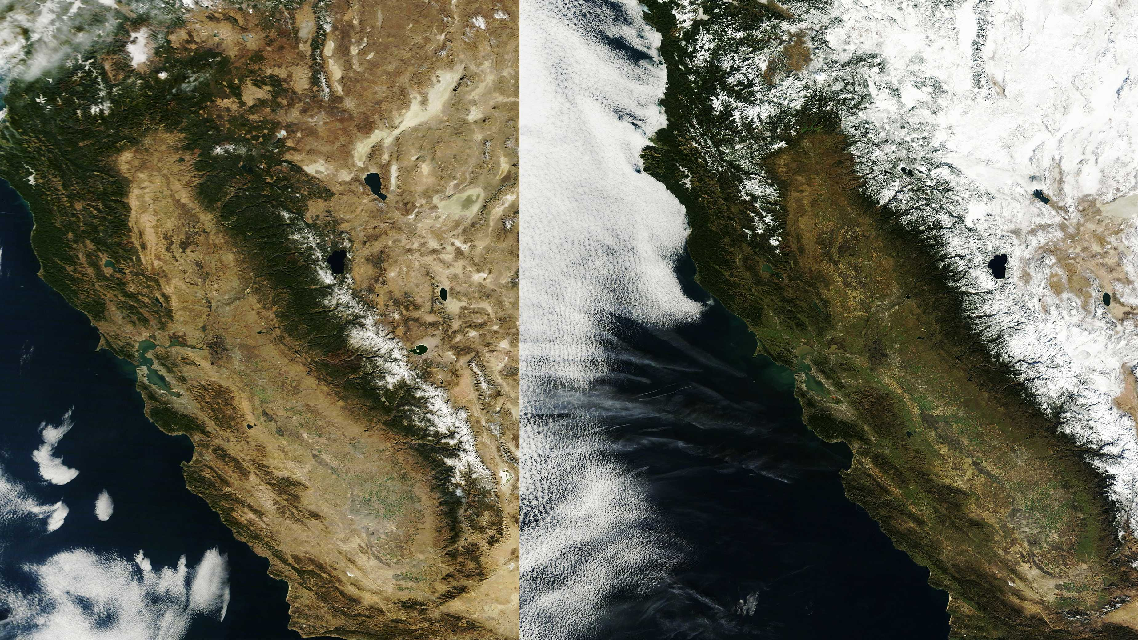 California is seen from space in January 2014 on the left, and in January 2013 on the right.
