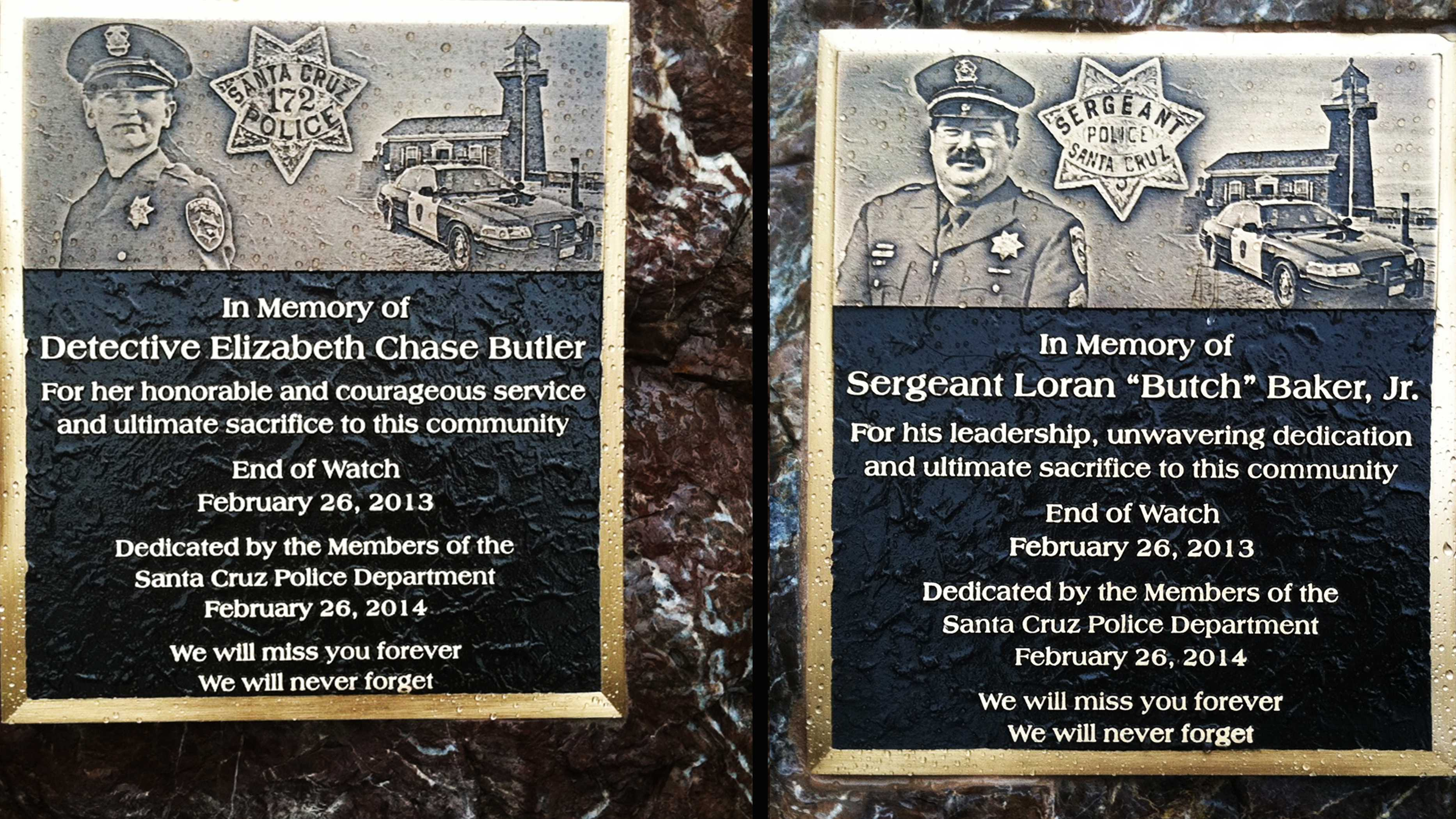 These memorial plaques were unveiled at the Santa Cruz Police Station Wednesday.