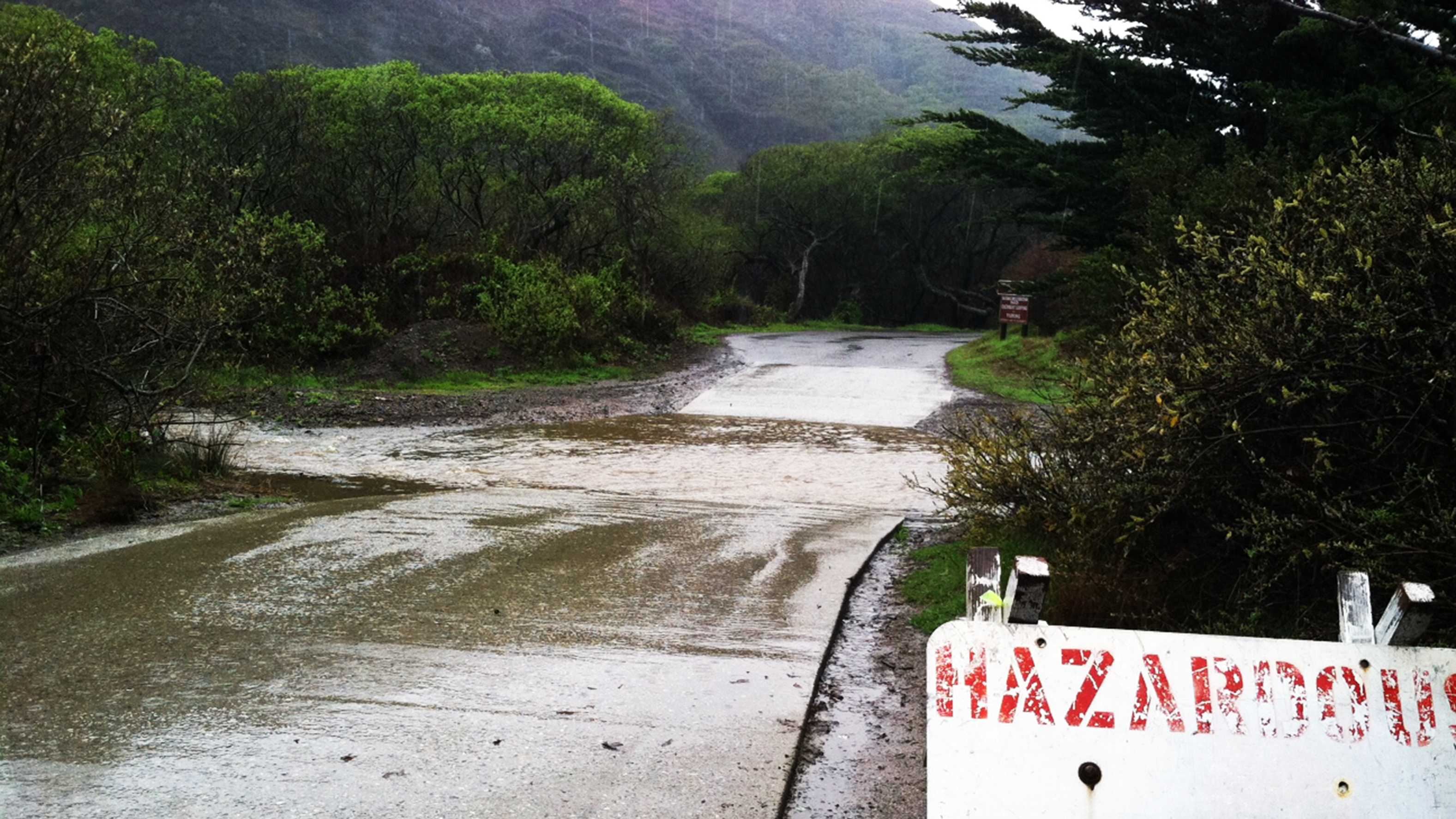 Sycamore Canyon Road in Big Sur was flooded Friday.