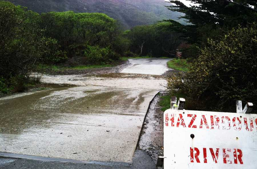 Sycamore Canyon Road in Big Sur was flooded Friday.  (Feb. 28, 2014)
