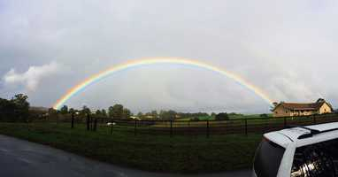 A perfect rainbow arched over Prunedale when the sun broke through rainclouds Friday. (Feb. 28, 2014)