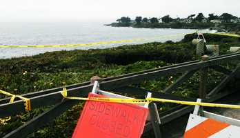 While the blow hole was blowing out ocean water on East Cliff Drive, a sinkhole collapsed the middle section of a cliff over on West Cliff Drive in Santa Cruz.