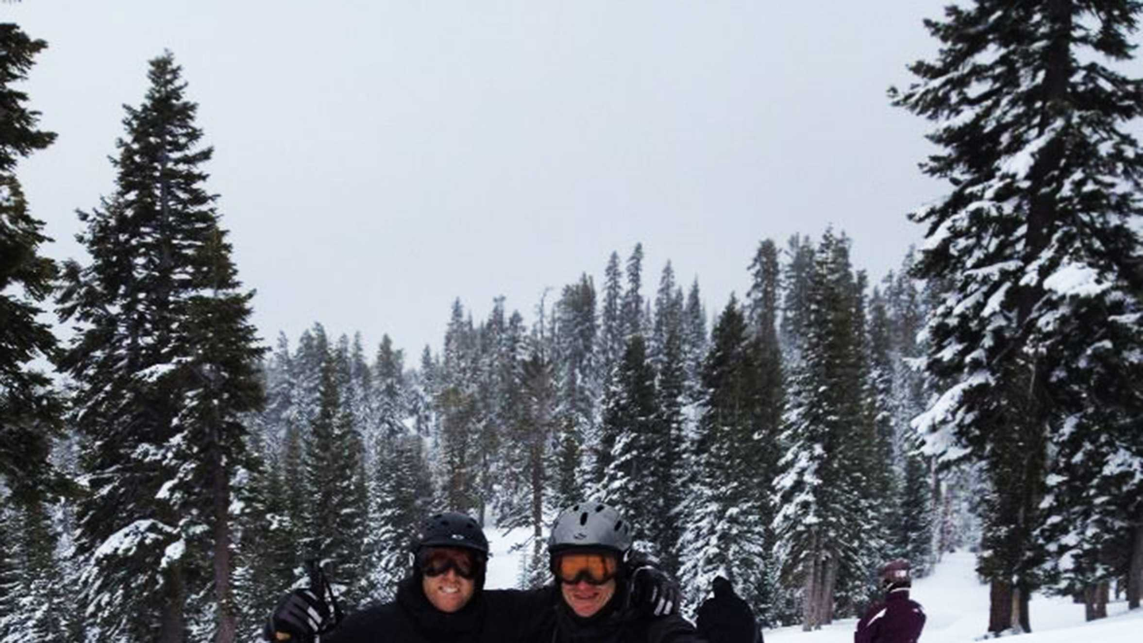 KSBW Weatherman Lee Solomon, left, hit the slopes above Lake Tahoe on March 1, 2014 with friends.