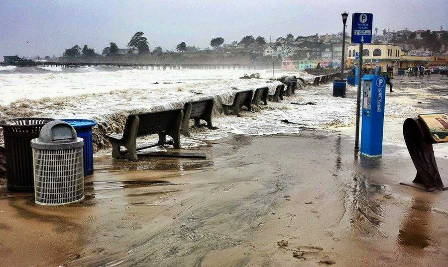 Ocean waves swept over Capitola Village during a storm surge on March 1.  (Photo by Santa Cruz Waves / Sabine Dukes)