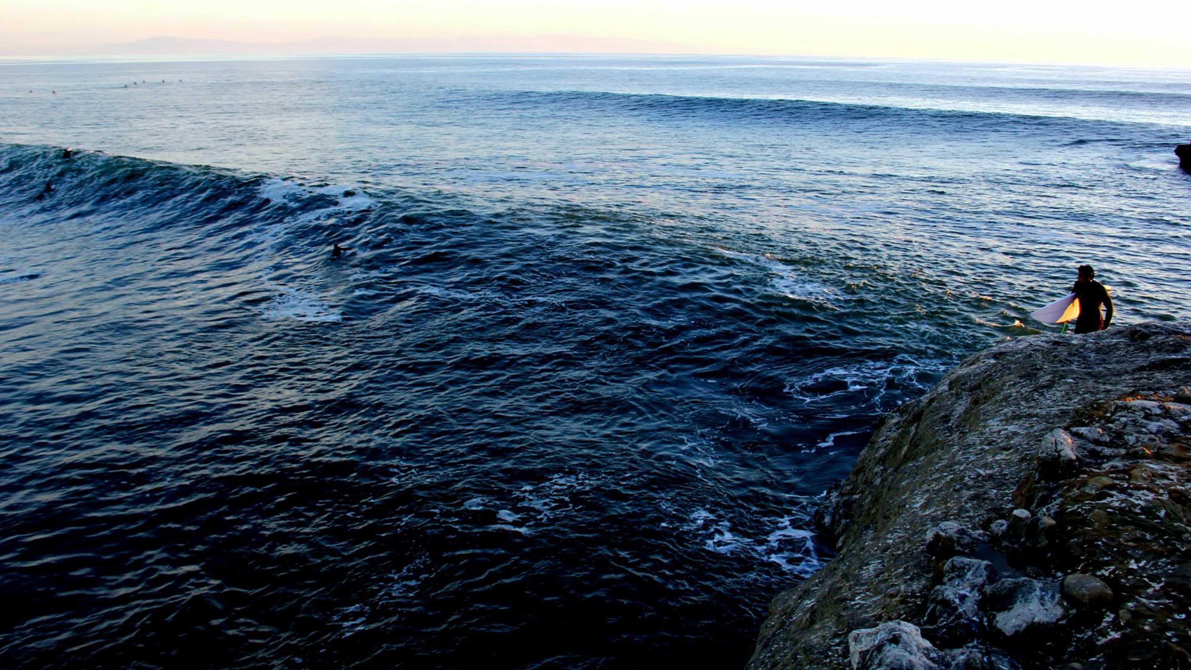 Waves roll in at Steamer Lane in Santa Cruz.
