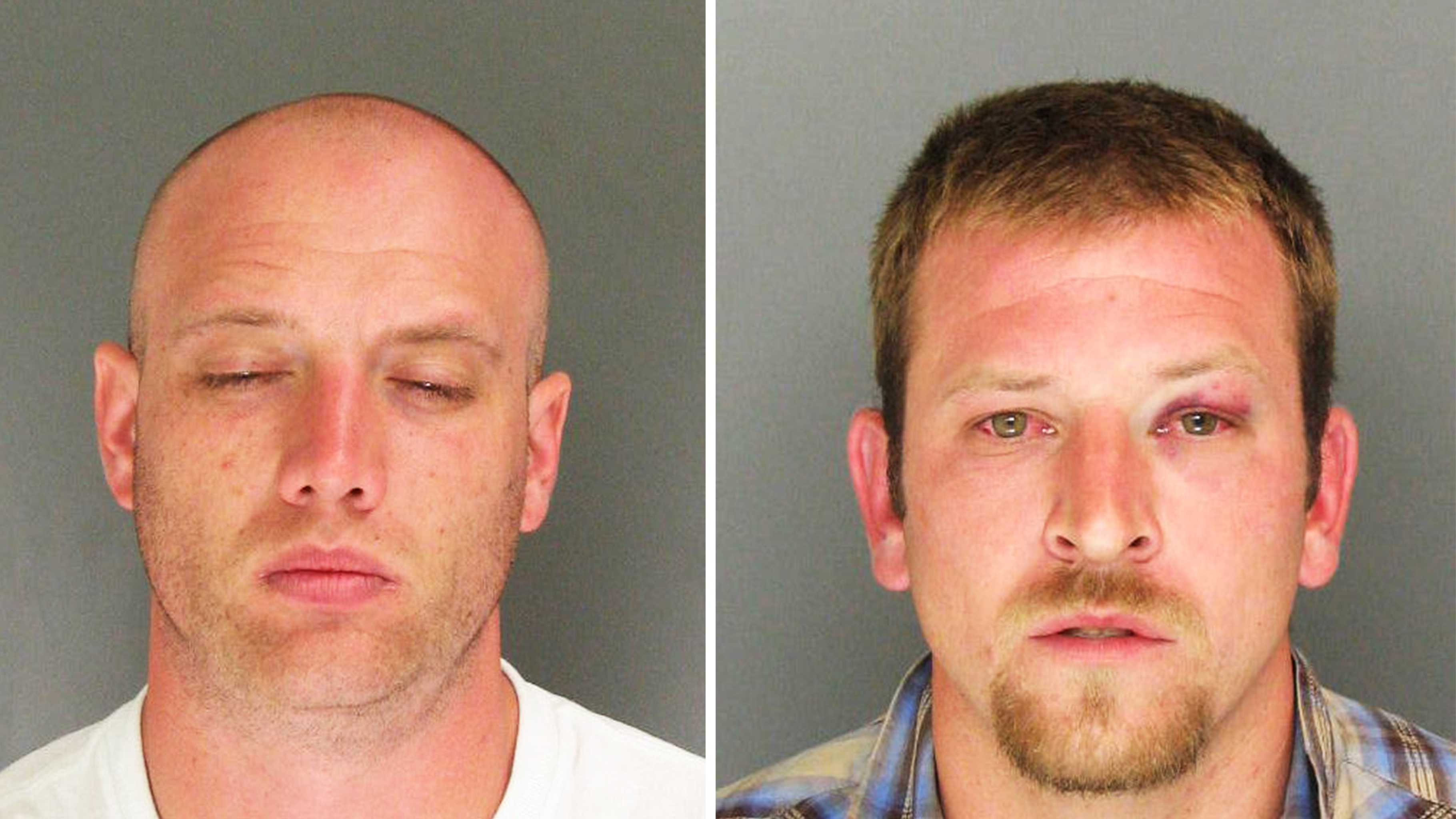 Michael Hague, left, was arrested. Dino Moschetti, right, is wanted by the sheriff.