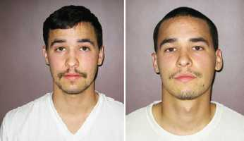 Brandon Jenkins and Brian Jenkins are 21-year-old twin brothers in Hollister. They were arrested March 20 for assault with a deadly weapon and possession of stolen property. Deputies said the brothers beat up a 17-year-old boy who was walking home from school. When the boy's father went to the brothers' house, they aimed a rifle at him.
