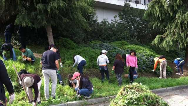 Volunteers cleaning up to honor Cesar Chavez