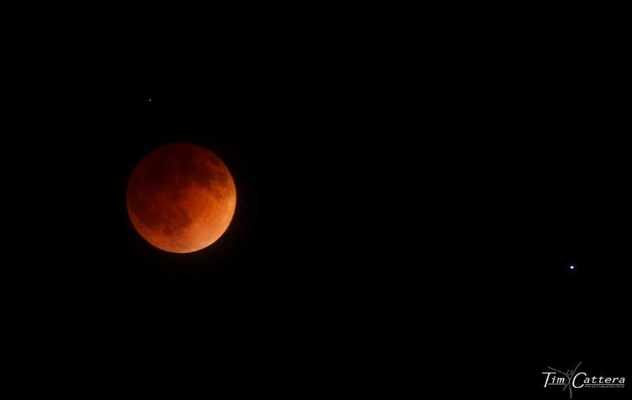 A blood moon is seen over the Santa Cruz mountains on April 14, 2014.