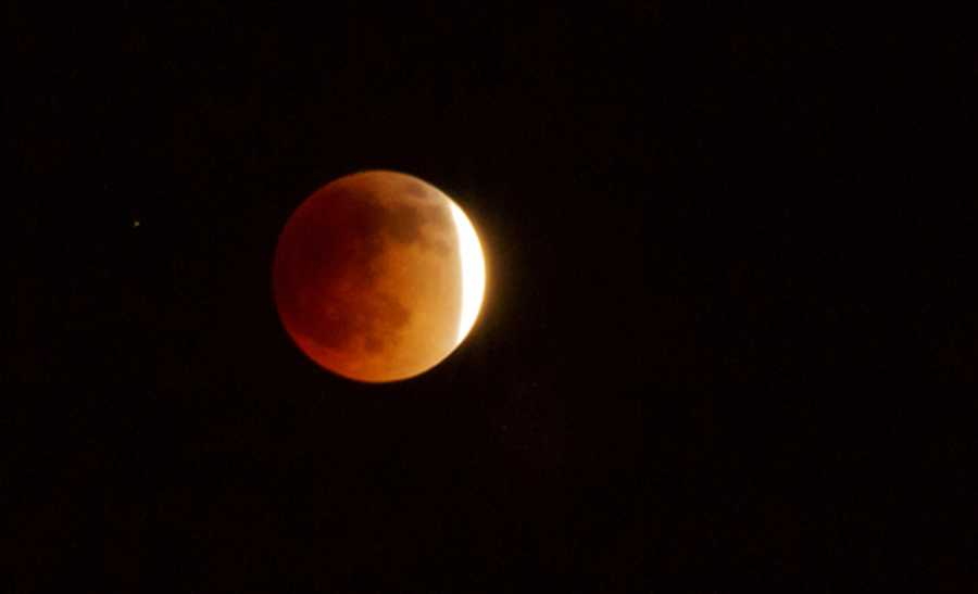 The lunar eclipse is seen here from Albuquerque New Mexico.
