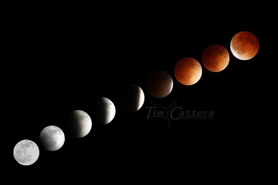 """Blood Moon seen from EarthAn unusually beautiful lunar eclipse to graced the night skies over the Santa Cruz mountains on April 15, 2014. The moon slid into the Earth's shadow and turned into a """"blood moon."""""""