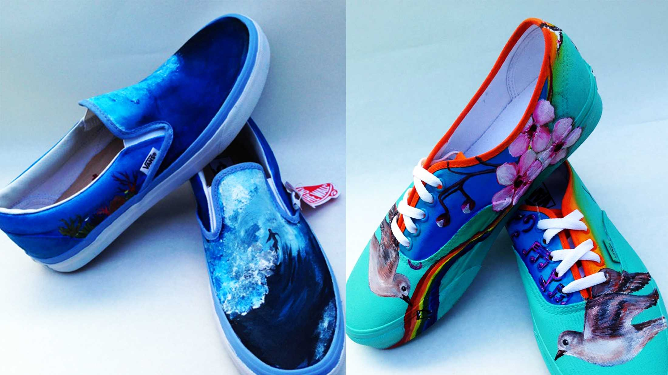 Marina High School student Marissa Braxton painted the wave shoes, and student Sally Jimenez painted the song bird shoes.