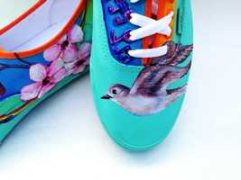 Sally Jimenez painted song bird shoes.