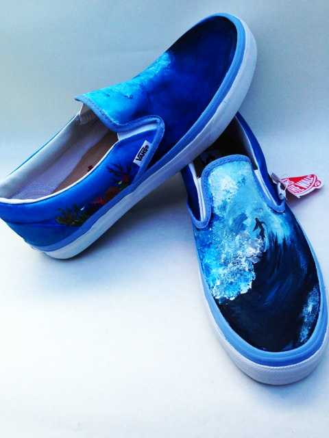 Marissa Braxton painted these surfer wave Vans shoes.