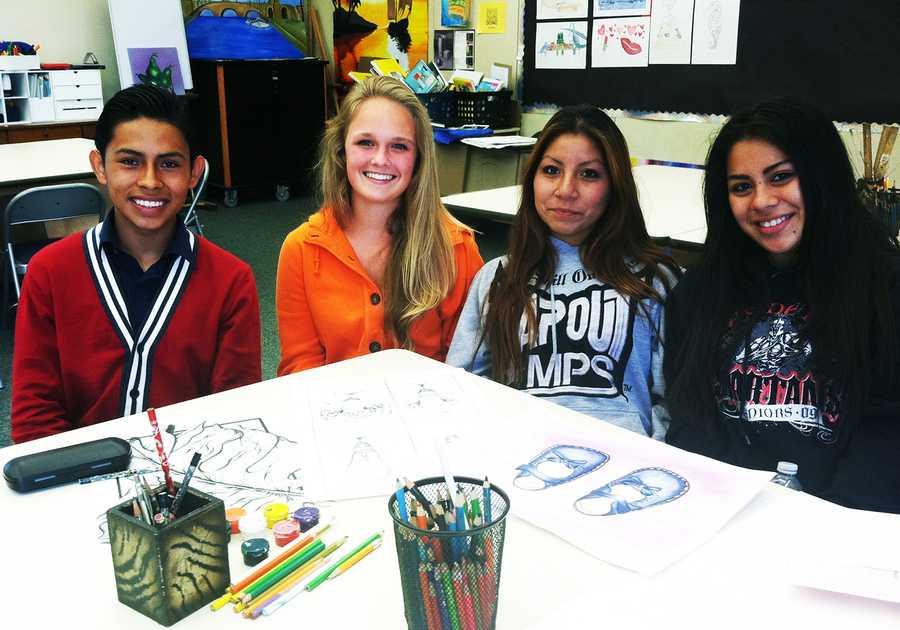 Miguel Martinez, Marissa Braxton, Sally Jimenez, and Areli Rico are four young artists at Marina High School.