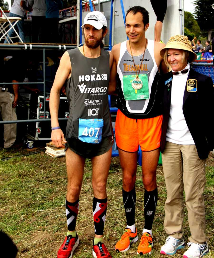 The only runner who came close to keeping up with Wardian, left, was Adam Roach of Pacific Grove, center.