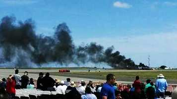 "The crash brought a quick halt to the ""Thunder Over Solano"" show attended by an estimated 100,000 spectators. No one else was injured. (May 4, 2014)"