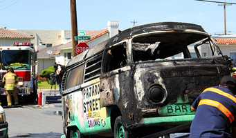 The van owned by Pajaro Street Bar & Grill was gutted by flames.