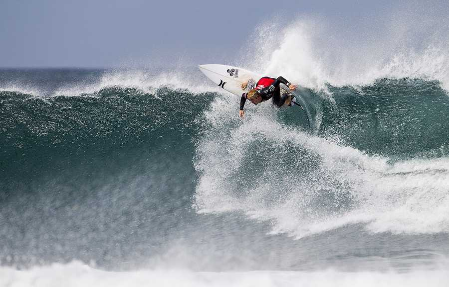Nat Young competes at Bells Beach in Australia for the 2014 Rip Curl Pro.