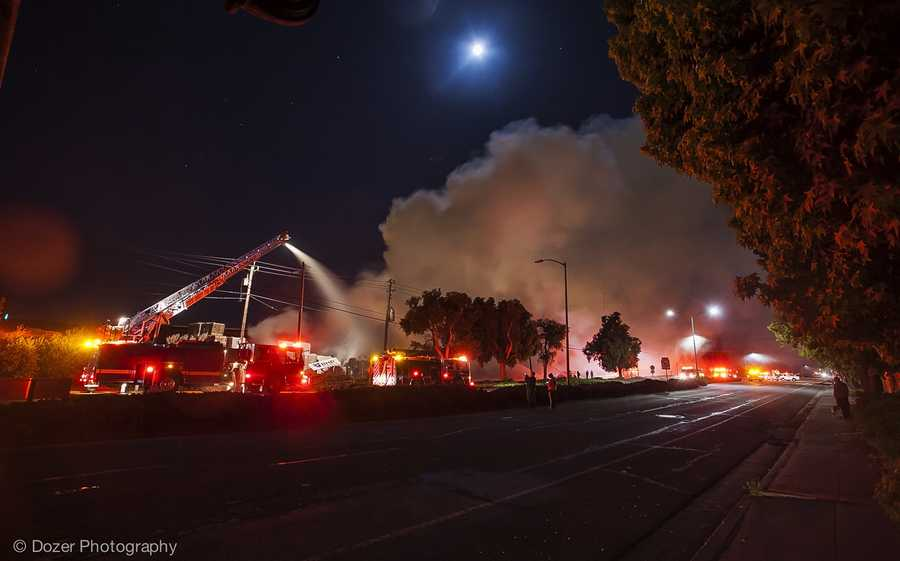 The first firefighters who arrived at the 10 p.m. blaze were faced with a 200-foot wide wall of intense flames. (May 12, 2014)