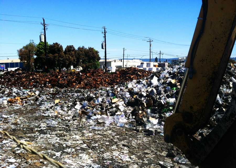 Almost everything in the lot was reduced to ashes by the destructive one-alarm fire. A house next door and garage were also heavily damaged. Highway 129 was shutdown for hours, several homes were evacuated, and no one was injured. (May 13, 2014)
