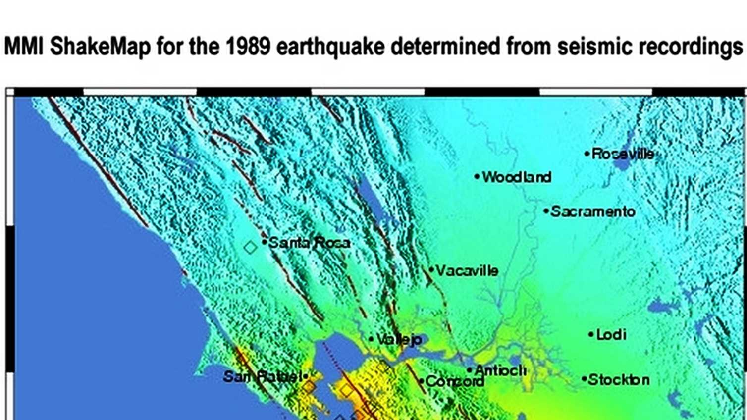 1989 earthquake shake map