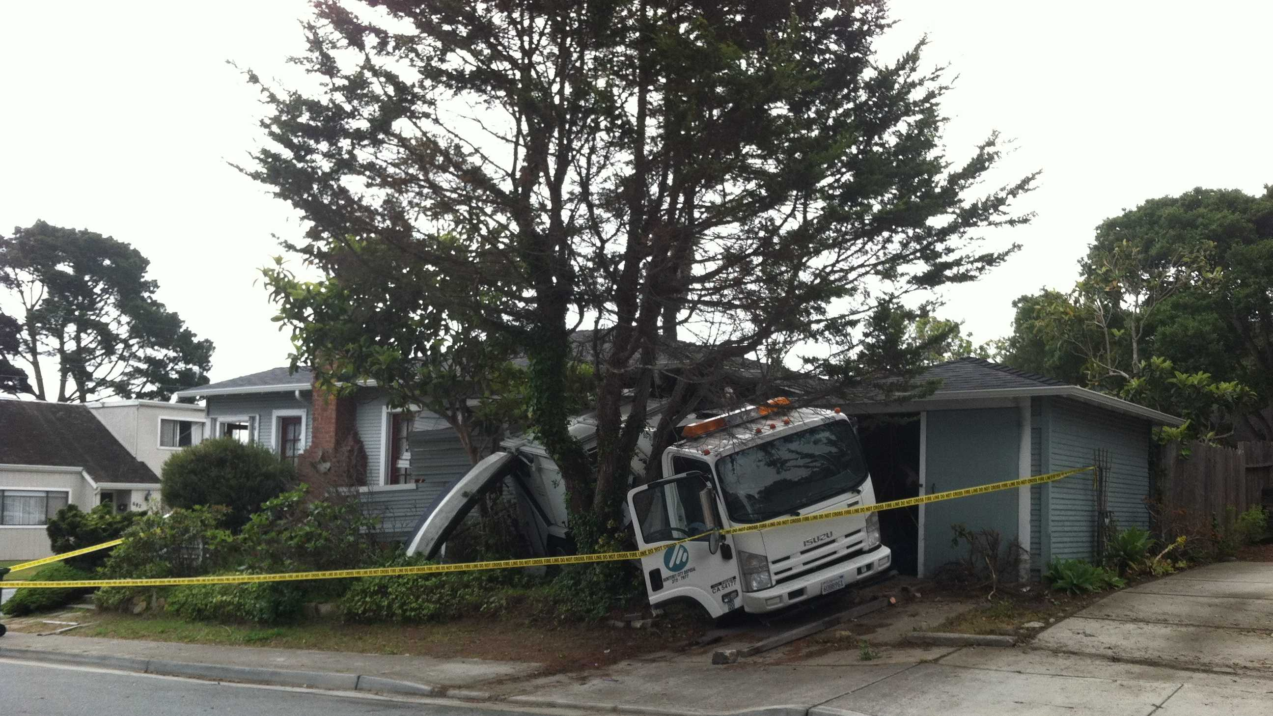 Truck crashed into a home in Monterey Tuesday morning.