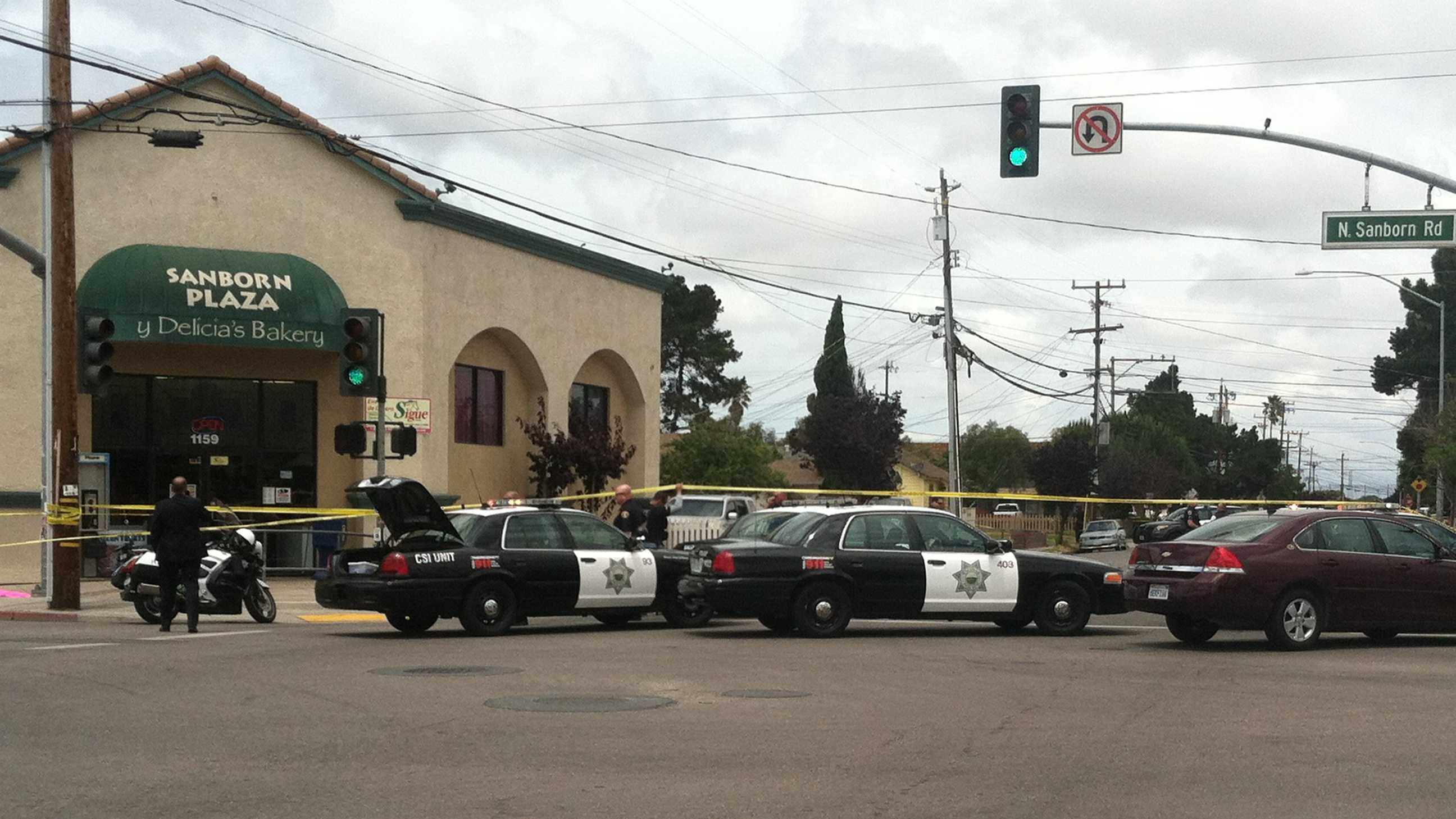 One person has been shot outside a bakery at Sanborn Plaza in Salinas.