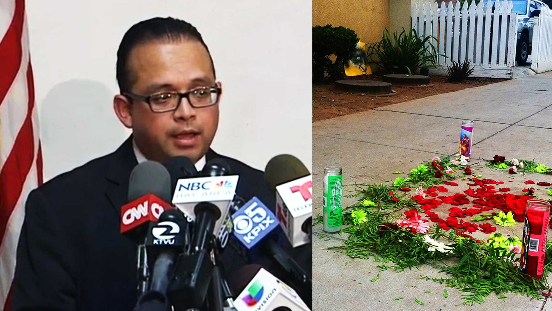 State Assemblyman Luis Alejo spoke in Salinas Thursday, left. A memorial, right, was made where Carlos Mejia died Tuesday.