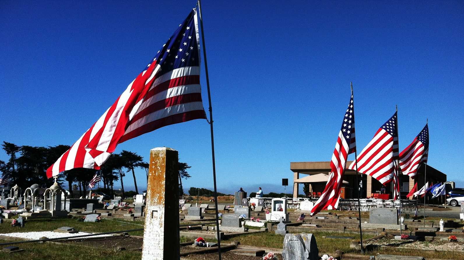 Flags were raised at a cemetery in Moss Landing on Memorial Day. (May 26, 2014)