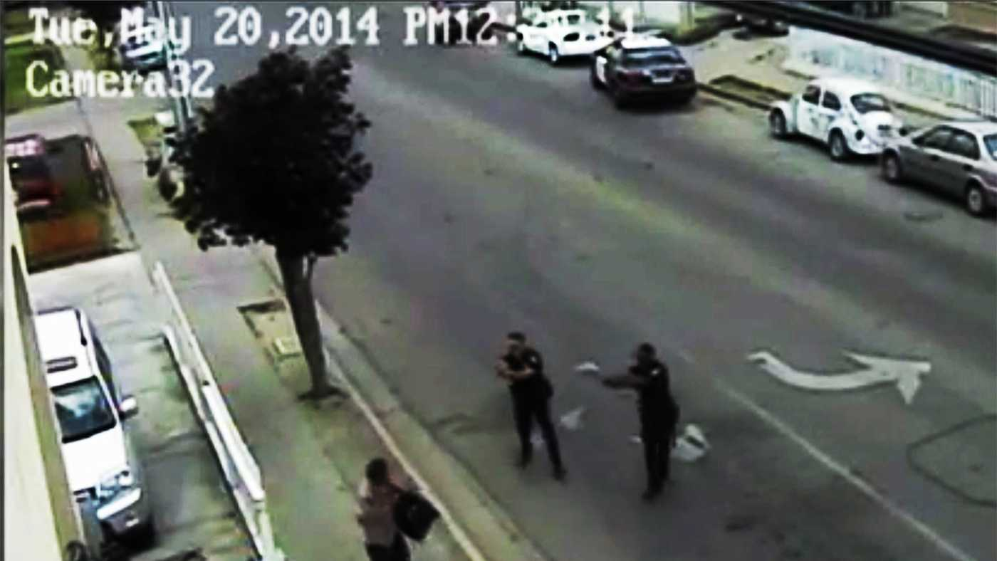The two Salinas Police Department officers who shot Carlos Mejia on May 20 are seen here seconds before Mejia died.