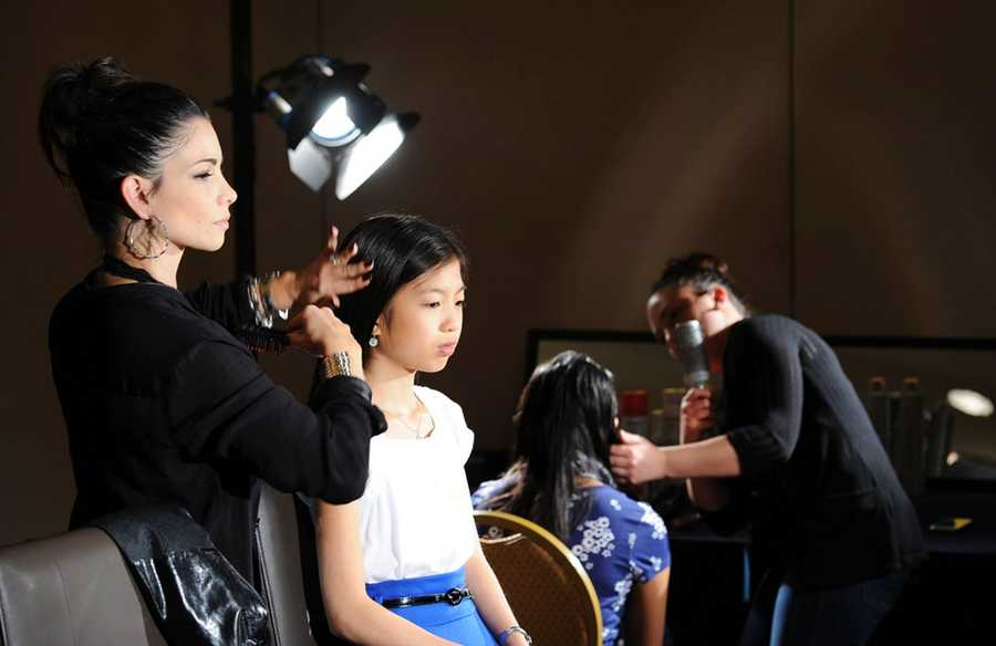 The spellers who made it into the prestigious final day got to have their hair professionally done.