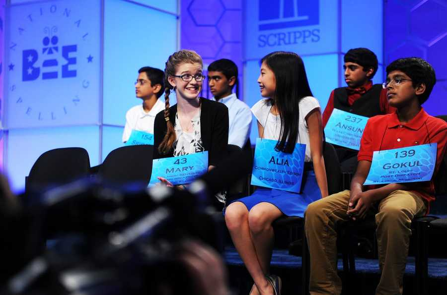 Alia Abiad of Illinois and Mary Horton of Florida smile at each other after they became the last two girls standing in the spelling bee.