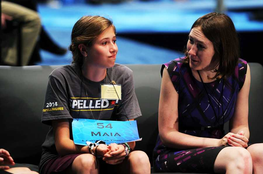 Maia Dykstra regroups after misspelling her word and being eliminated from the bee.