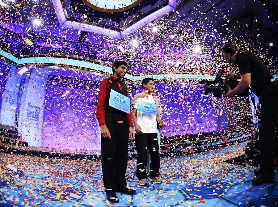 Sriram Hathwar and Ansun Sujoe correctly spelled so many words Thursday that the Scripps National Spelling Bee had to declare them both winners. (May 29, 2014)