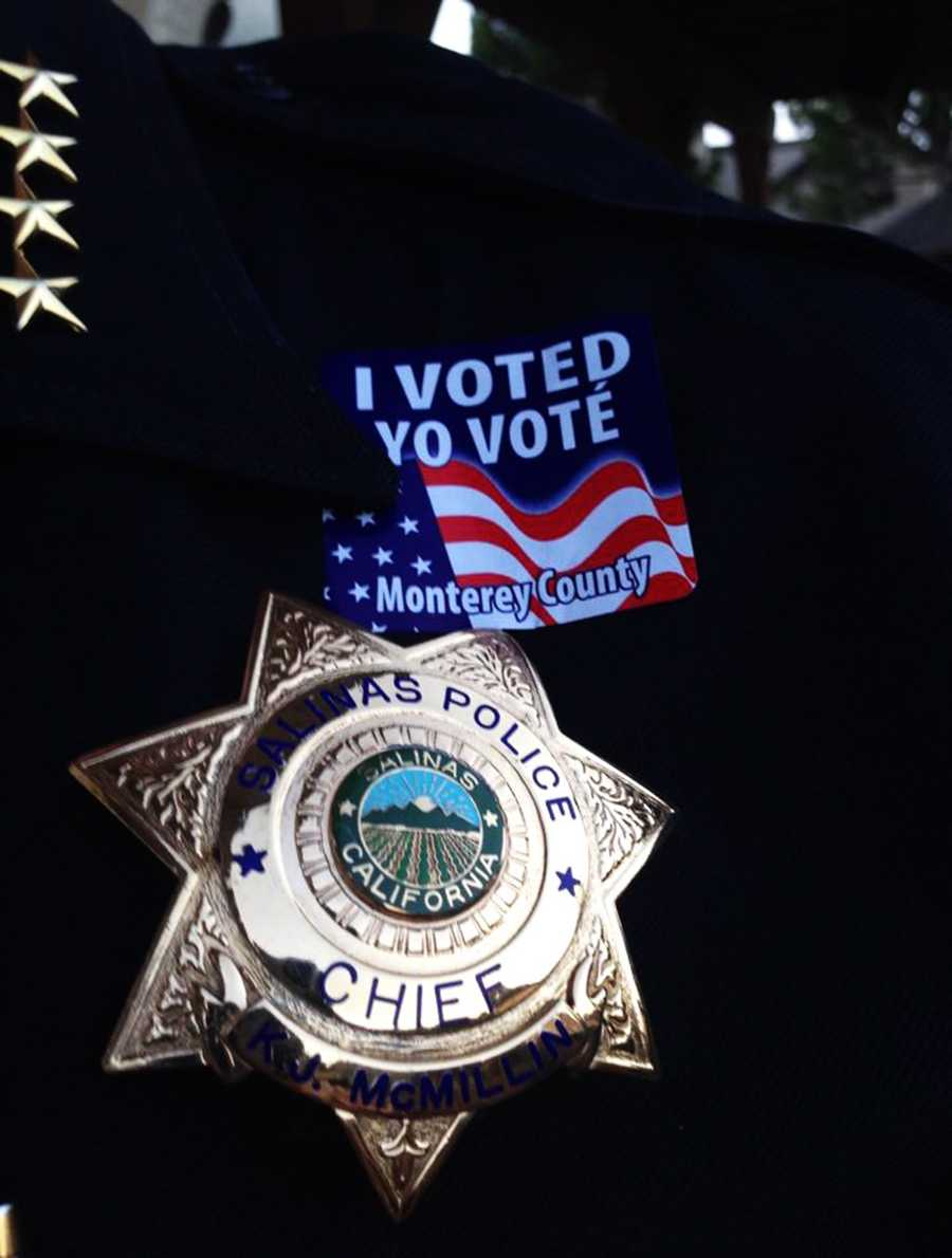 """Salinas Police Chief Kelly McMillin uploaded this Facebook photo and wrote, """"Got out of City Council with 15 minutes left before the polls closed. With all that's going on in Salinas I'm more proud than ever of our democracy. Everyone gets a say!"""""""