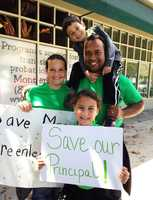 Students and parents rallied behind their principal while the Salinas City Elementary School District board of trustees voted to demote the principal to a teaching position.