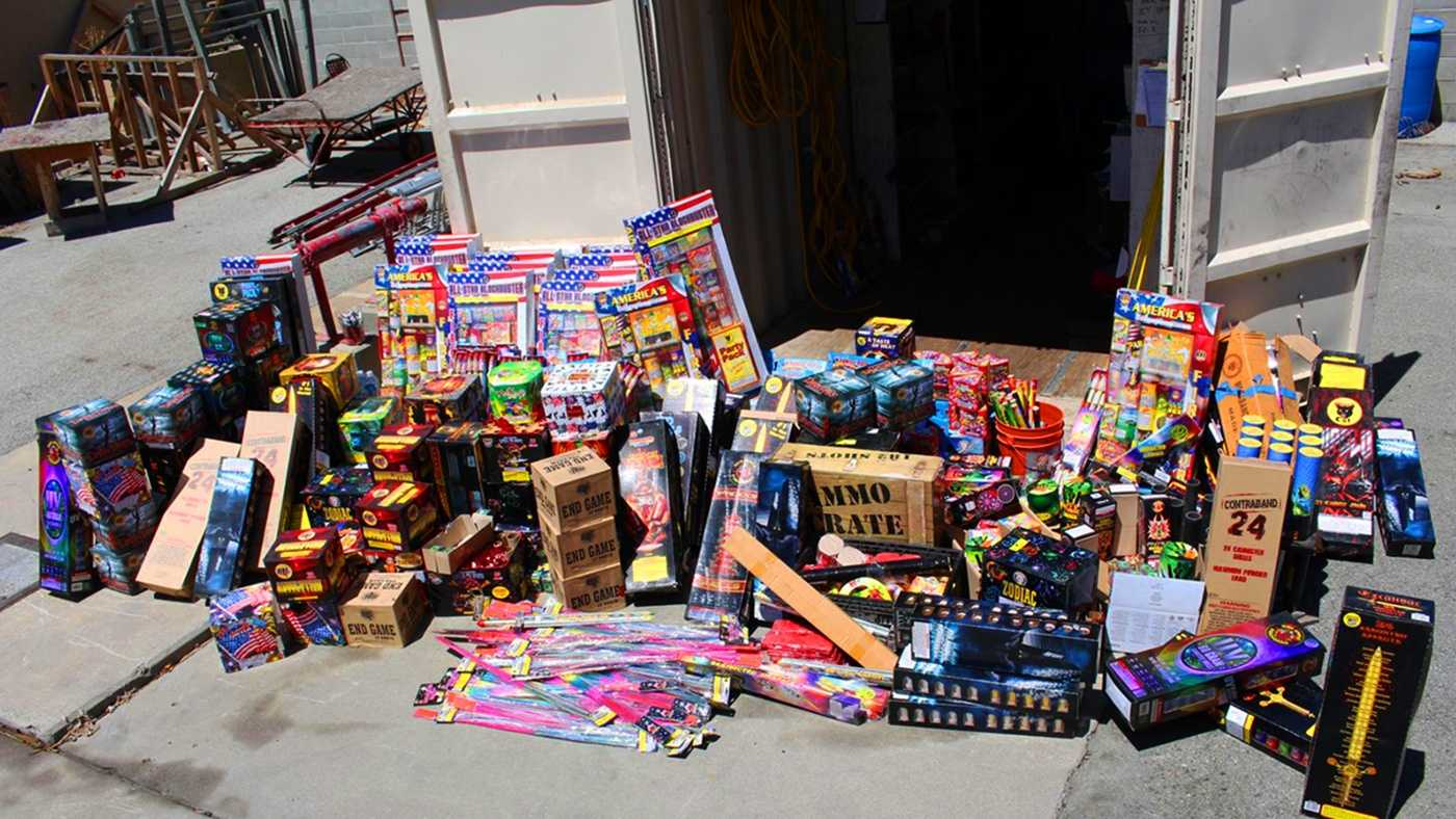 Salinas police seized these fireworks from Daniel Escatel Alcocer's home on Towt Street.