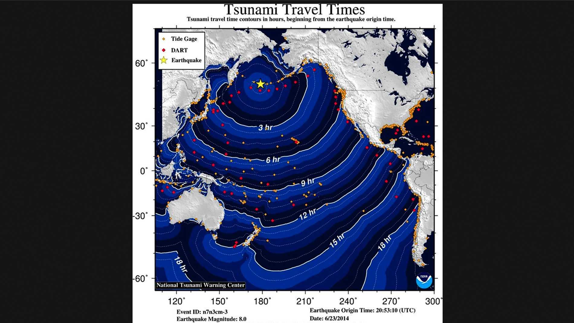 NOAA created this tsunami travel time map.