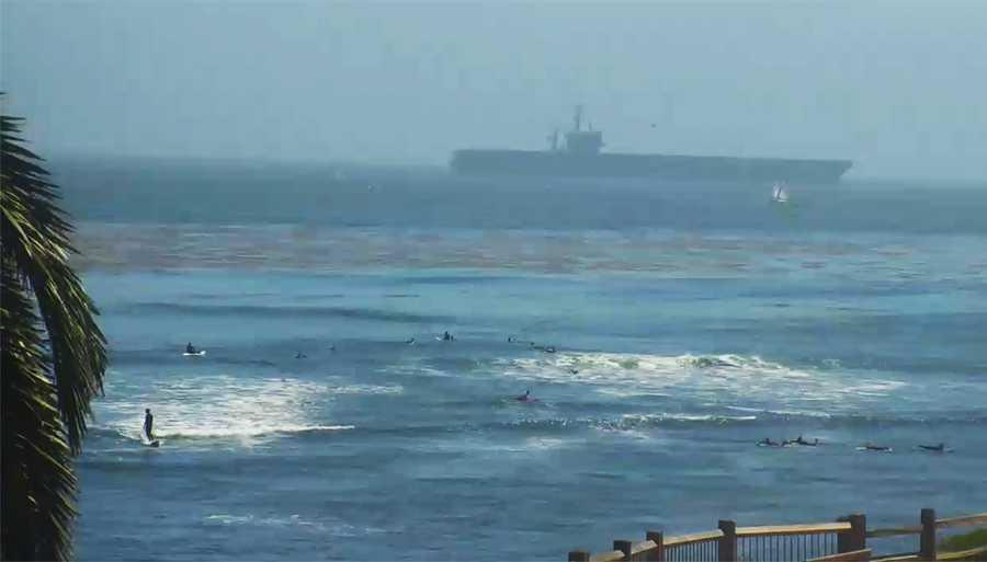 The warship is seen from Pleasure Point in Santa Cruz. The fog lifted enough to see it at 2:30 p.m.