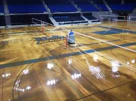 The water main rupture flooded the school's storied basketball court less than two years after a major renovation.